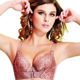 QinYing Embroidery Flowers Adjustable push-up Bra with Front Closure