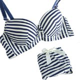 ROPALIA Womens Charm Cute Padded Striped Underwear push-up Bra and Panty Set